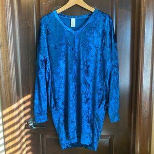Boutique brand blue velvet tunic